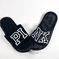 Pink Womens Medium Black Velvet Slippers L16