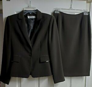 Tahari Arthur Levine Women's Brown 2 Piece Skirt Suit, Polyester, Size 2P, EUC