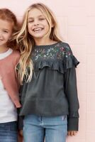 NEW RRP £19 Next Charcoal Embroidered Blouse                              (BU22)