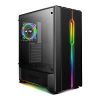 ATX Mid-Tower Gaming PC Computer RGB Case Tempered Glass darkFlash T20 Black
