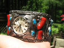 VTG Native American NAVAJO STERLING SILVER TURQUOISE & CORAL WATCH CUFF BRACLET
