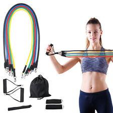 11 PCS Resistance Exercise Band Set Yoga Pilates Abs  Fitness Tube Workout Bands