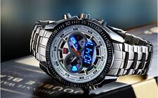 TVG Mens Dual Movement Time Display LED Digital Quartz Sports Wrist Watch White