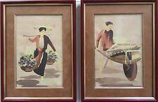 ECOLE INDOCHINOISE début XXe.Deux aquarelles.1936.Monogrammées.24x16.cadres.