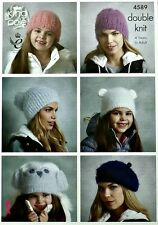 KNITTING PATTERN Ladies/Girls Beanie Beret Animal & Owl Hats DK King Cole 4589