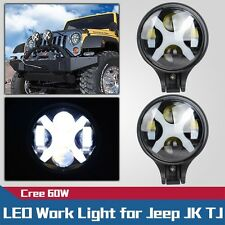 2X 6inch 60W CREE Round LED Work Head Light Fog Off-Road Lamp for Jeep TJ JK YJ