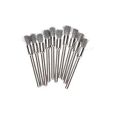 New 10pc Mini Wire Brush Brushes Cup Wheel for Grinder or Drill 3x5mmCei