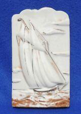 Vtg Japan 22kt Gold Embossed Sailboat Nautical Flower Wall Pocket Vase #4010