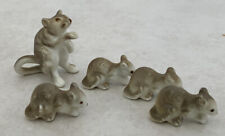 New ListingVintage Miniature Genuine Bone China 5 Rat Figurines Mama W/ 4 Babies