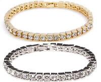 Damen Tennis Armband Silber Gold Zirkon Klar Kristall Ketten PartnerFreundschaft