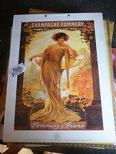 Grande Plaque Publicité Carton CHAMPAGNE POMMERY Design Art Nouveau