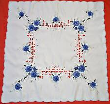 VINTAGE ROSES APPLICATION CUT EMBROIDERY WHITE BLUE TABLECLOTH