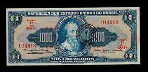 BRAZIL 1 CRUZEIRO NOVO ON 1000 CRUZEIROS ( 1966-67 )  PICK # 187a  AU-UNC.