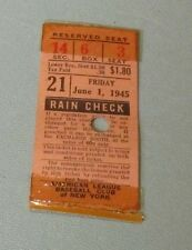 June 1 1945 New York Yankees Cleveland Indians Baseball Ticket Stub Bill Bevens
