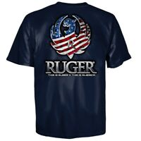 Ruger Reflection American Flag Eagle Logo T Shirt Navy New, Authentic 3XL