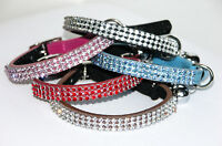 Cat Collar Bling Diamante Rhinestone Crystal Leather with Safety Elastic Bell
