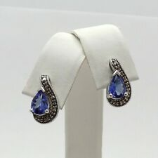Sterling Silver 2ctw Pear Shaped Tanzanite Diamond Accent Stud Earrings