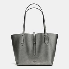 NWT Coach Market Tote in Polished Pebble Leather Gunmetal Black F37756