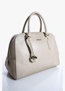 FURLA Beige Leather Gold Tone Hardware Double Handle Large Satchel Handbag