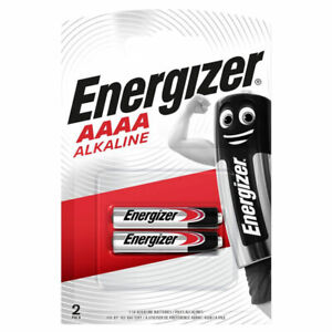 2 x Energizer AAAA batteries Alkaline 1.5V MX2500 E96 LR61 MN2500 Pack of 2