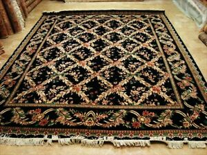Black Vintage French Hand Knotted Fine Carpet (9 x 11)'
