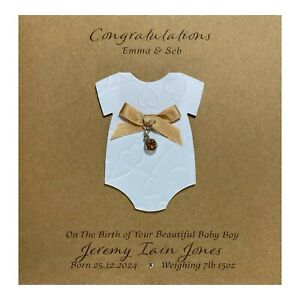 Handmade PERSONALISED New Baby Girl / Boy Card Baby Grow - Birth Stone Colours