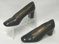 RUSSELL & BROMLEY BLACK LEATHER COURT SHOES QUIRKY BRONZE BANDED HEELS UK 4.5