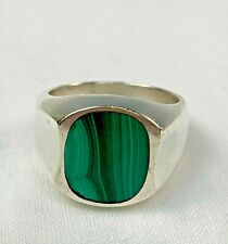Men's Mexican Sterling Silver Malachite Ring, Size 10.5