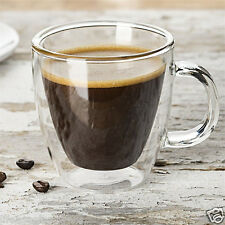 Double Clear Wall Insulated Glass Espresso Mugs Glass Coffee Tea Cups W. Handle