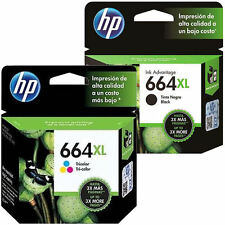 2 Pack - HP 664 XL Ink Cartridge Black + TRICOLOR F6V30AL, F6V31AL COMBO NEW
