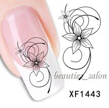 2Sheets 3D Flower Nail Art Water Decal Transfer Stickers Manicure Decoration