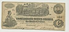 1862 UNITED STATES CONFEDERATE $100.00 BANK NOTE CIVIL WAR RICHMOND,VIRGINIA
