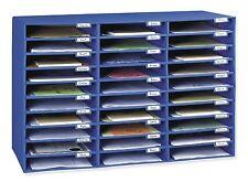 Office Mail Box Sorter Blue Desk Organizer 30 Slot Pigeon Hole File Paper New
