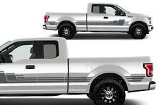 Vinyl Decal Rally Stripe 3 Wrap Kit for 2015-17 Ford F-150 GRAY SuperCab 6.5 Bed