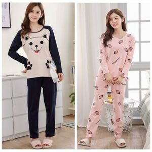 Womens Pajamas Set Cartoon Lounge*Lingerie Sleepwear Home Nightwear Casual Suit