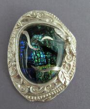 Dichroic Glass Squash Blossom Molten Pendant Vintage Fs 999 Pure Silver Oval