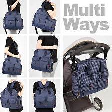 Baby Changing Bag Nappy Bag Diaper Set Insulated Mat Pouch Wipe Case - 7PCS Navy