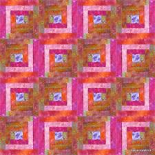 16 Block~Log Cabin Quilt Kit-Pre Cut  STRAWBERRY MANGO  NEW by eyecandyfabrics