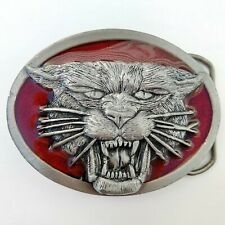 Vintage Tiger Mountain Lion Belt Buckle by Tandy Leather Co. 1987 Red and Silver