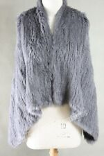 NEW 100% RABBIT FUR SWING VEST Charcoal Free Size Free P&P