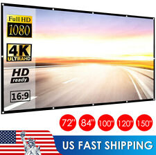 "60""-150"" Inch Projector Screen 16:9 Hd Foldable Anti-Crease Projection Screen Us"