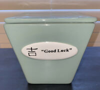 Chinese Food Take Out Ceramic Container Happiness Multi-Use- GOOD LUCK