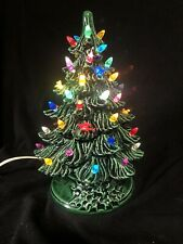 "Vintage Christmas Green Ceramic Lighted Tree Holland Mold 10"" Tall"