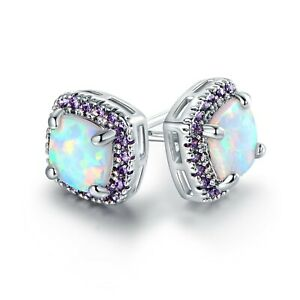 Sevil 18K White Gold Plated Lab Created Opal & Amethyst Square Stud Earrings 8MM