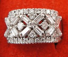 14K White Gold Diamond Cluster Ring XO Band Round Baguette Cut Size 6.5
