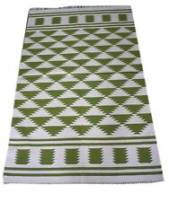 Hand Woven Modern Green Color 3X5 Feet Cotton Kilim Geometric Area Rug