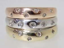 14k Tri Color Gold and Diamond Ladies' Three Band Fashion Ring Size 7