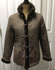 Womens Icelandic Brown Floral Embroidered 100% Wool Blend Coat