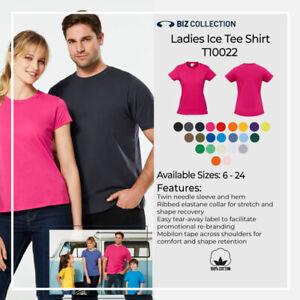 Ladies Ice Tee Shirt 100% Cotton Plain Work Casual Sports Crew Neck Size 06-24