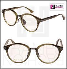 GUCCI 0066 Titanium Green Horn Gunmetal RX Eyeglasses Optical Frame GG0066O